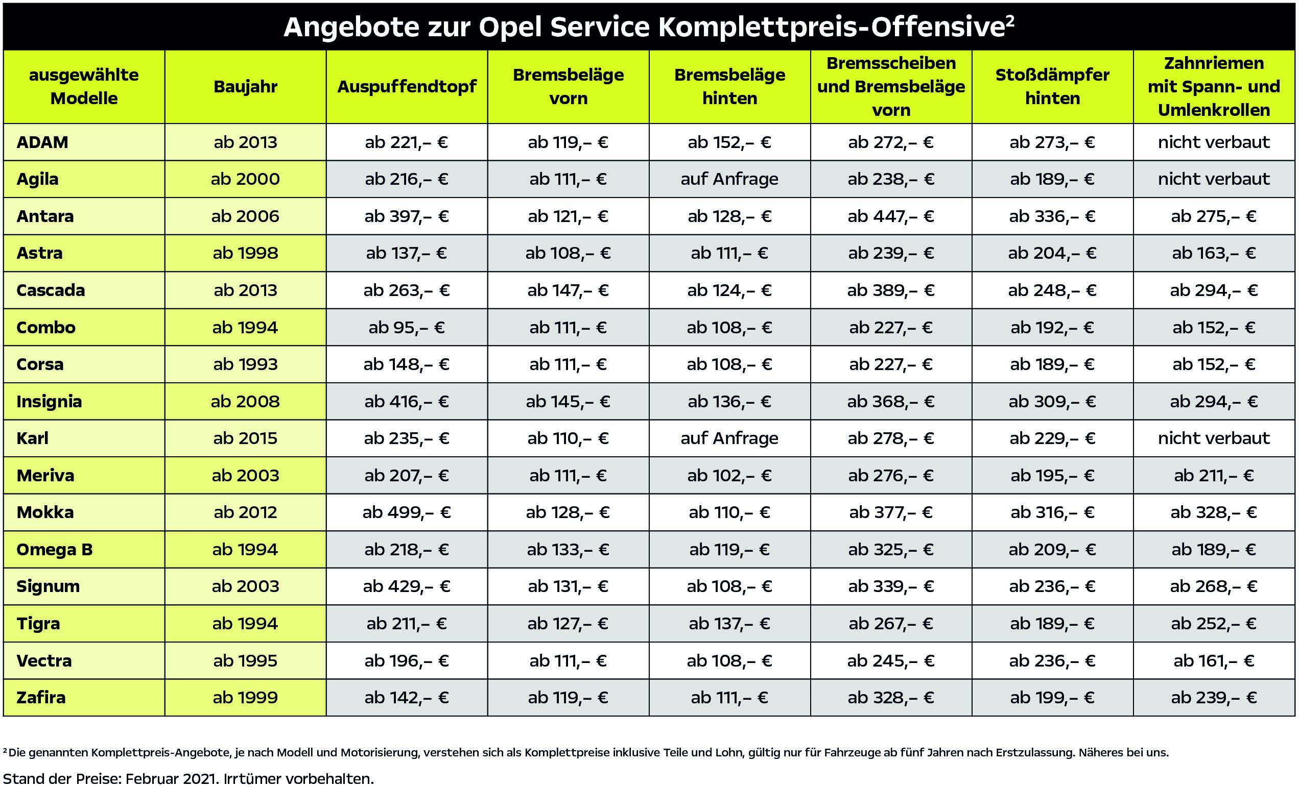 Opel Service Komplettpreis Offensive Tabelle